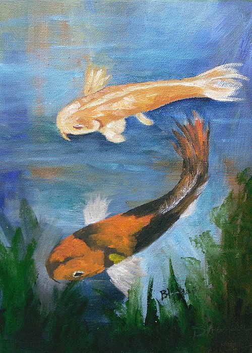 Koi Greeting Card featuring the painting Doitsu And Utsuri Koi by Barbara Harper