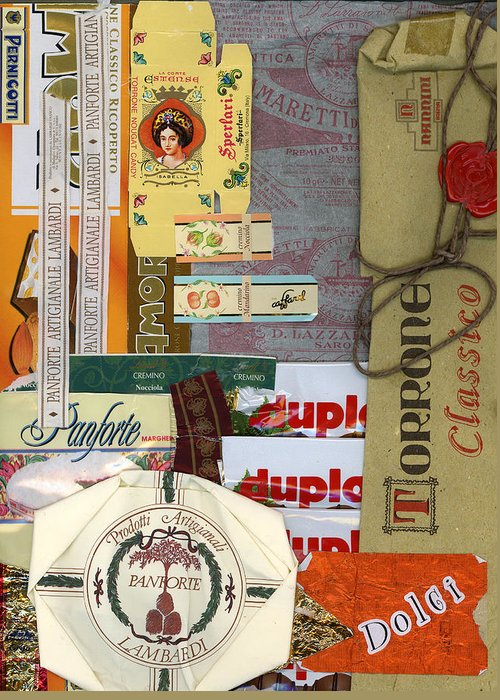 Collage Print Greeting Card featuring the mixed media Dolci by Nancy Ferrier