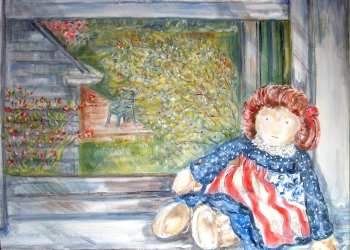 Still Life Greeting Card featuring the painting Doll In Window 2 by Joseph Sandora Jr