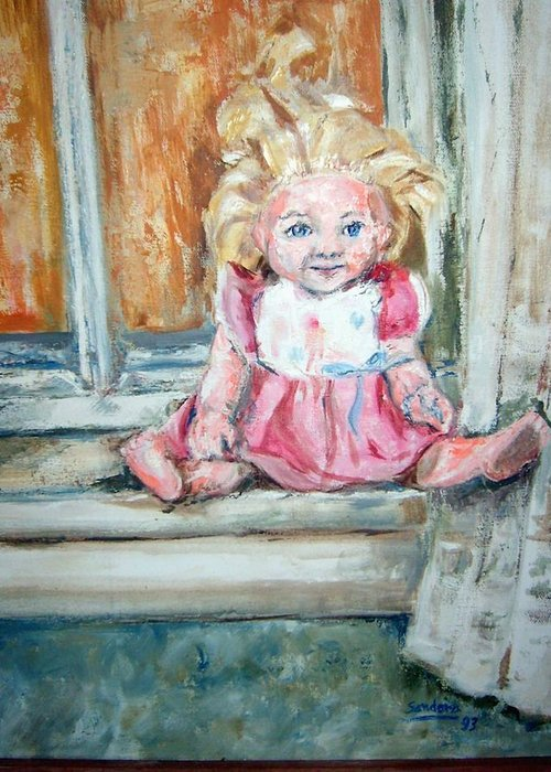 Dolls Window Portraits Greeting Card featuring the painting Doll In Window by Joseph Sandora Jr