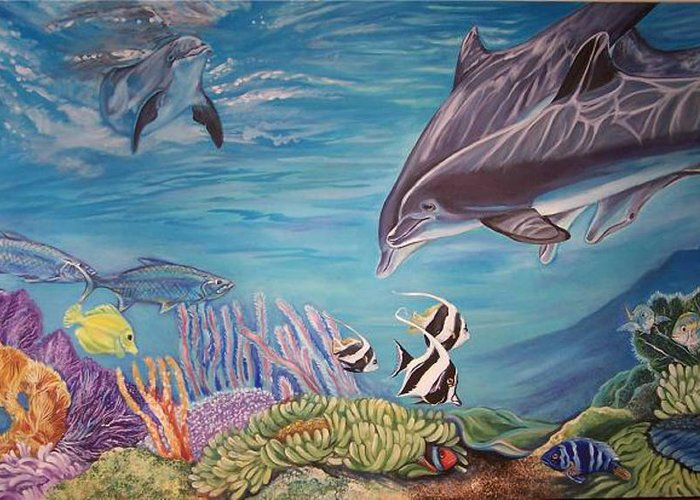 Underwater Scene Greeting Card featuring the painting Dolphin Pod by Diann Baggett