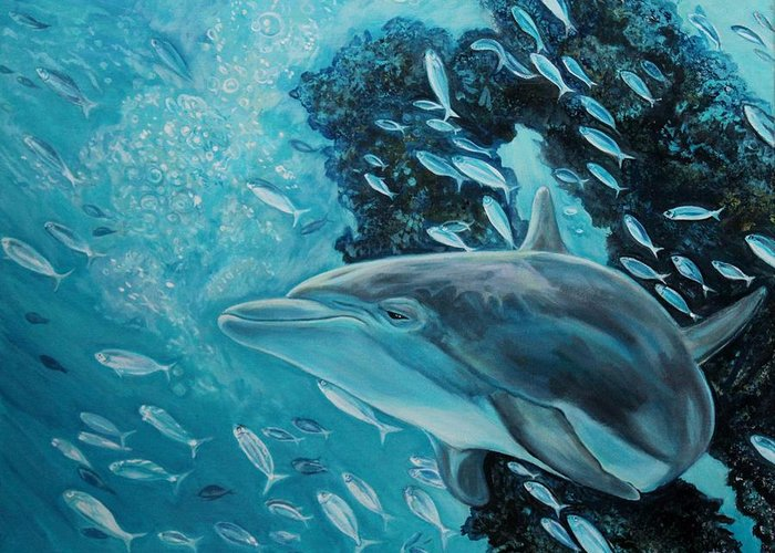 Underwater Scene Greeting Card featuring the painting Dolphin With Small Fish by Diann Baggett