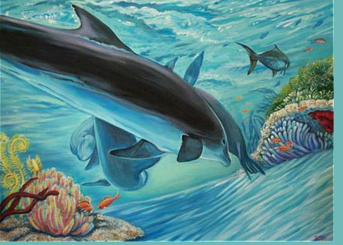 Underwater Scene Greeting Card featuring the painting Dolphins At Play by Diann Baggett