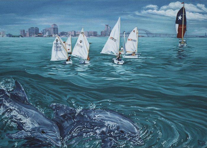 Dolphins Greeting Card featuring the painting Dolphins In Corpus Christi Bay by Diann Baggett