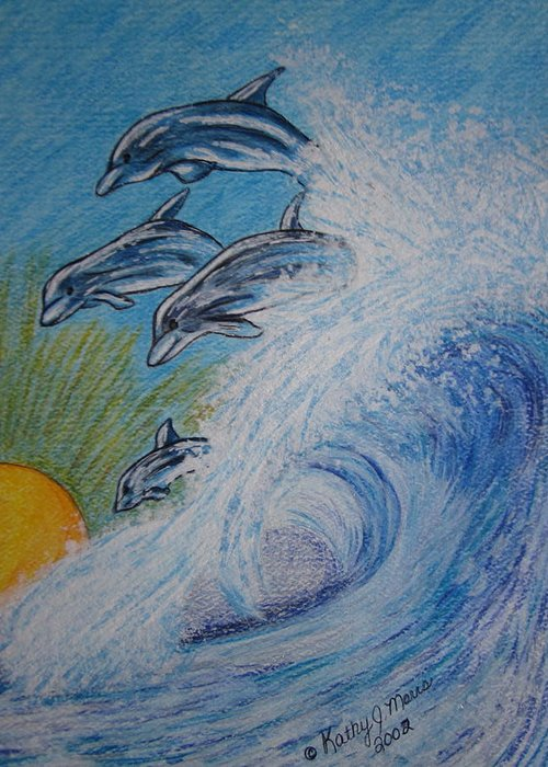 Dolphins Greeting Card featuring the painting Dolphins Jumping In The Waves by Kathy Marrs Chandler