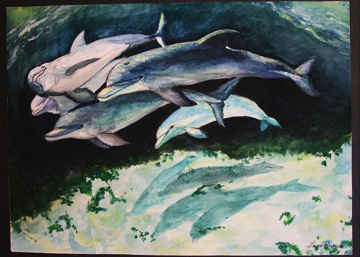 Dolphins Greeting Card featuring the painting Dolphins by Laura Rispoli