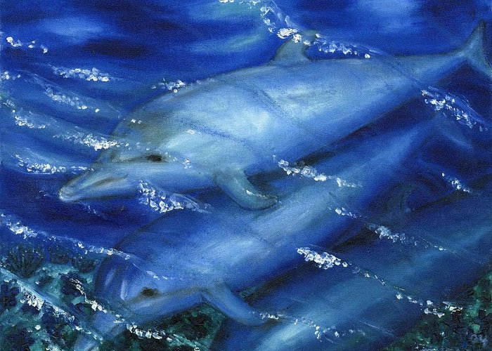 Dolphins Greeting Card featuring the painting Dolphins Swimming by Tanna Lee M Wells
