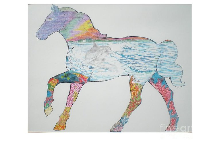 Portrait Of A Horse Design Greeting Card featuring the drawing Dolpin Horse by Hal Newhouser