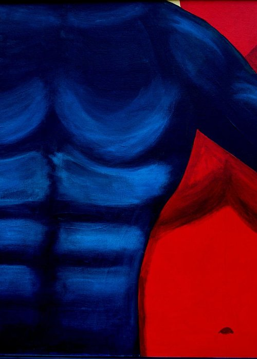 Man Woman Blue Red Portrait Greeting Card featuring the painting Domination by Dawn Downour