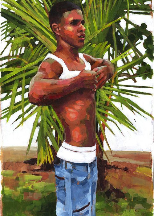 Male Figure Greeting Card featuring the painting Dominican Beach by Douglas Simonson