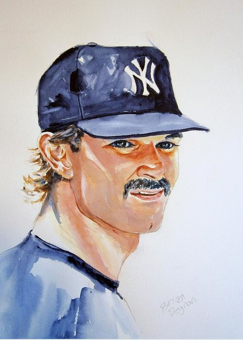 Mattingly Greeting Card featuring the painting Don Mattingly by Brian Degnon