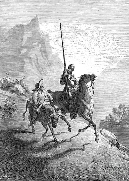 16th Century Greeting Card featuring the photograph Don Quixote And Sancho by Granger