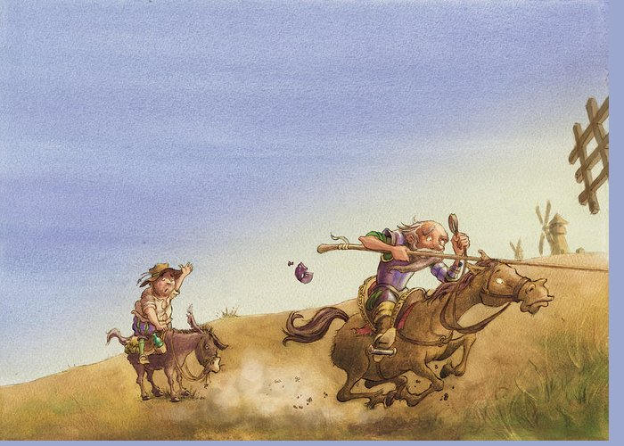 Don Quixote Greeting Card featuring the painting Don Quixote by Andy Catling