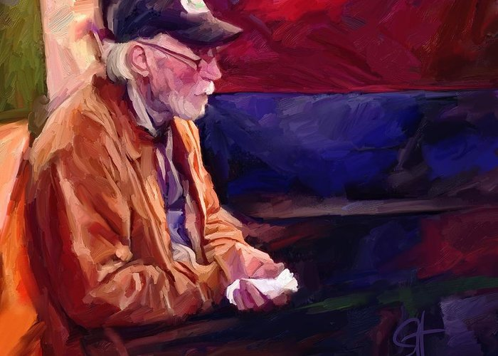 Portrait Greeting Card featuring the digital art Don by Scott Waters