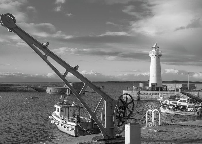 Donaghadee Harbour Greeting Card featuring the photograph Donaghadee Fishing Wharf by Photopoint Art