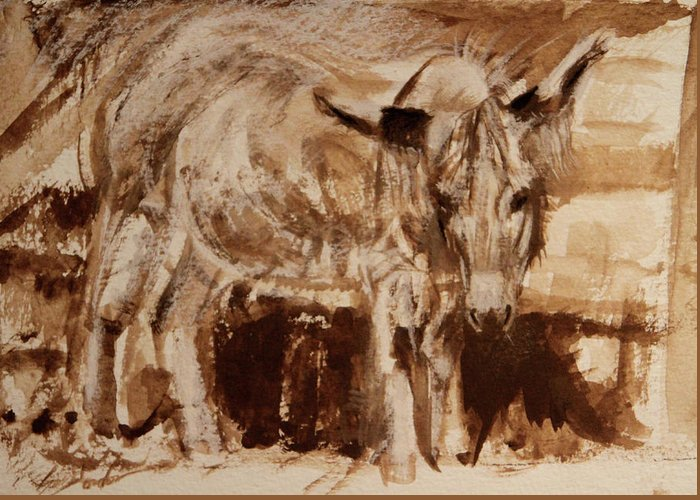 Art Greeting Card featuring the painting Donkey Daze by Susie Gordon