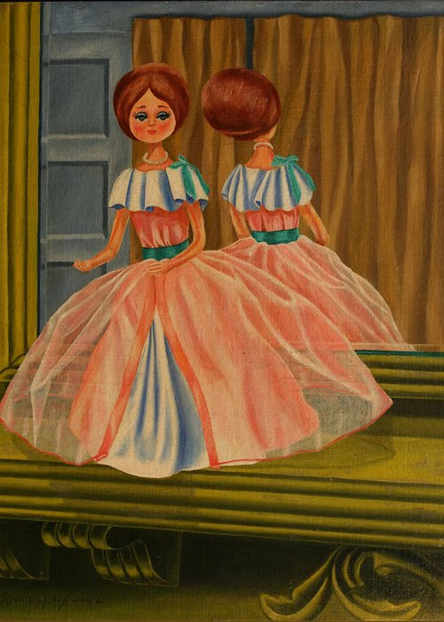 Still Life Greeting Card featuring the painting Donna Doll by Rosencruz Sumera