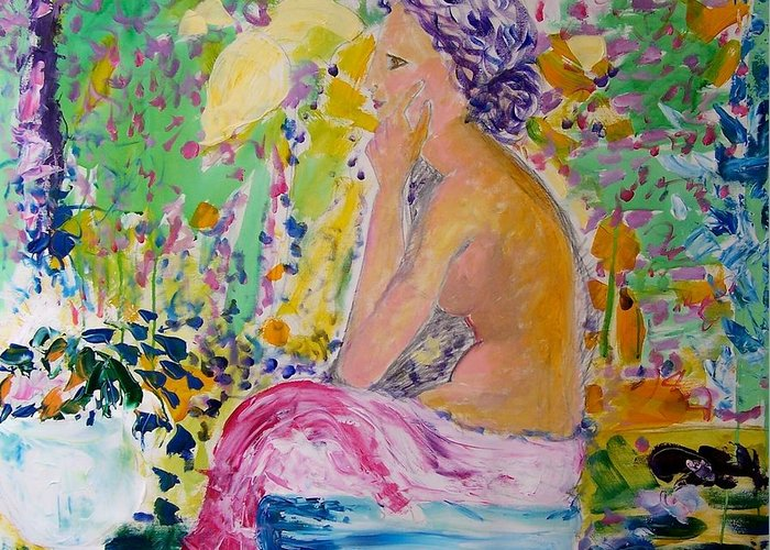 Painting Greeting Card featuring the painting Donna In Garden by Geraldine Liquidano