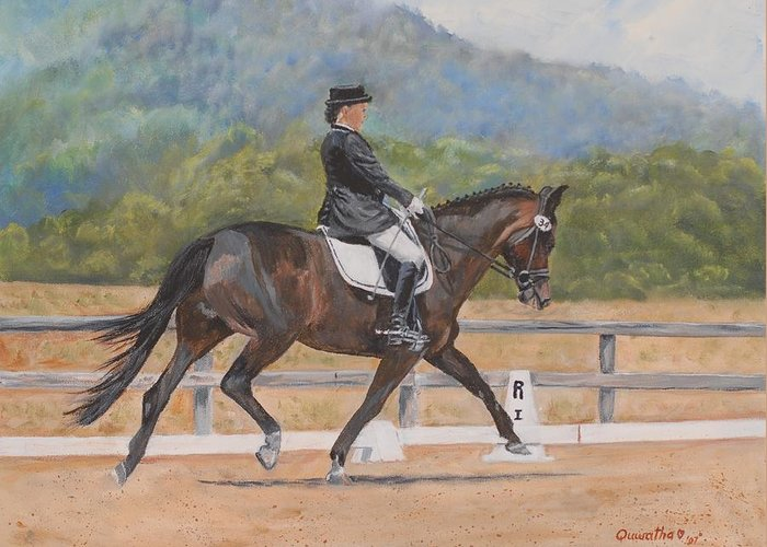 Horse Greeting Card featuring the painting Donnerlittchen by Quwatha Valentine