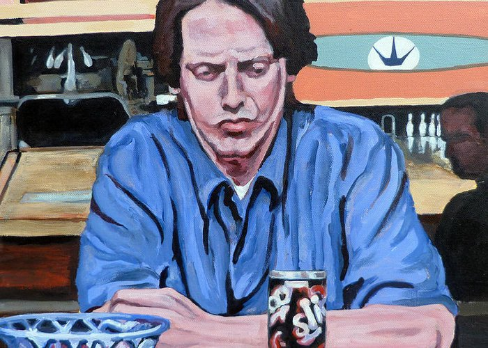 The Dude Greeting Card featuring the painting Donny Kerabatsos by Tom Roderick