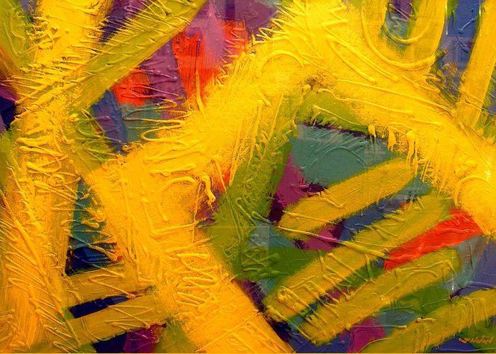Abstract Greeting Card featuring the painting Don't Dream About It Do It by John Nolan