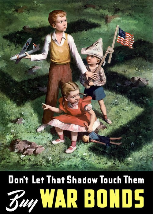 World War Ii Greeting Card featuring the painting Don't Let That Shadow Touch Them by War Is Hell Store