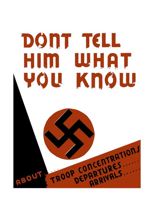 Wpa Greeting Card featuring the mixed media Don't Tell Him What You Know by War Is Hell Store