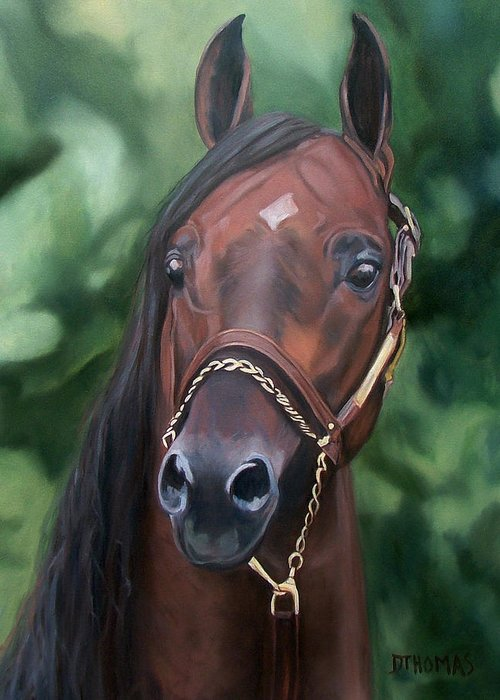 Horse Portrait Greeting Card featuring the painting Dont Worry Saddlebred Sire by Donna Thomas
