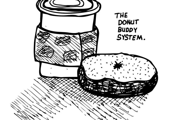 Drawing Greeting Card featuring the drawing Donut Buddy System by Karl Addison