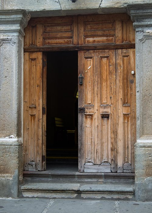 Door Greeting Card featuring the photograph Door Entrance To Church In Guatemala by Douglas Barnett