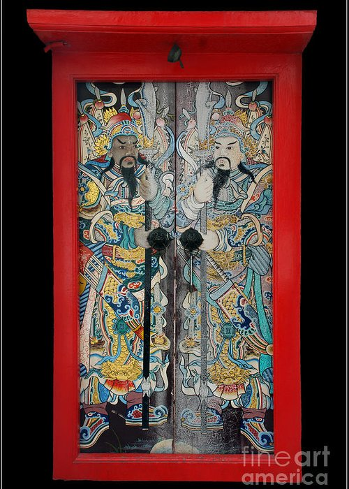 Culture China Chinese God Red Color Greeting Card featuring the photograph Door Gods With Red Door Frame by Ty Lee