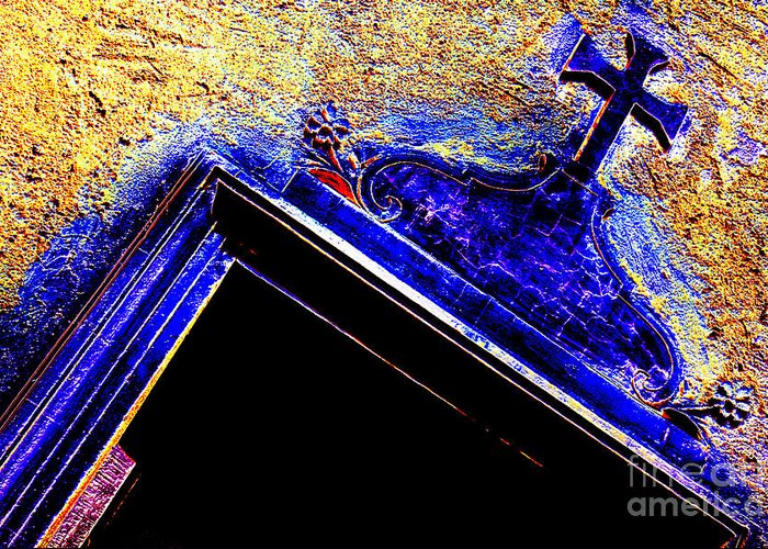 Cross Greeting Card featuring the photograph Door With A Cross by Adriano Pecchio