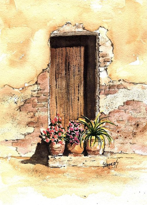 Door Greeting Card featuring the painting Door With Flowers by Sam Sidders