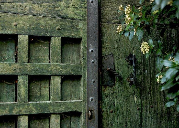 Green Greeting Card featuring the photograph Door With Padlock by Bernard Jaubert