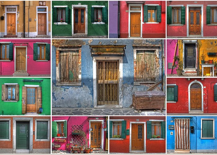 Travel Greeting Card featuring the photograph doors and windows of Burano - Venice by Joana Kruse