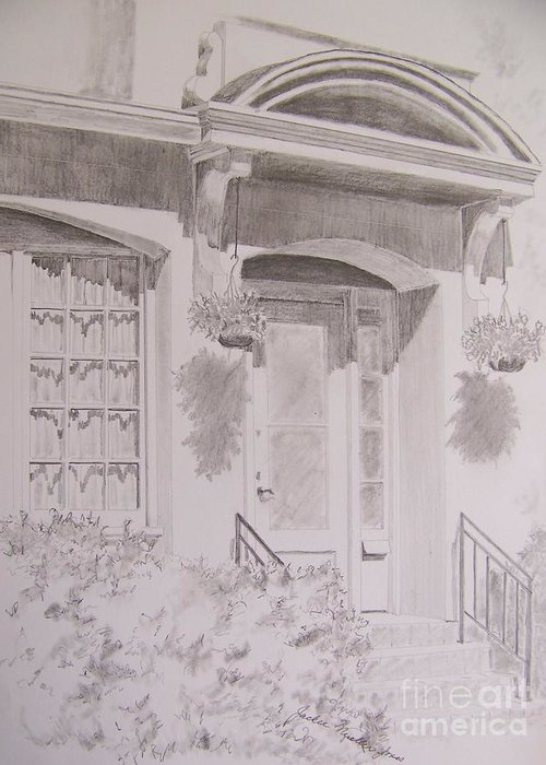 Doorway Greeting Card featuring the drawing Doorway by Jackie Mueller-Jones