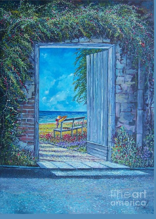 Original Painting Greeting Card featuring the painting Doorway To ... by Sinisa Saratlic