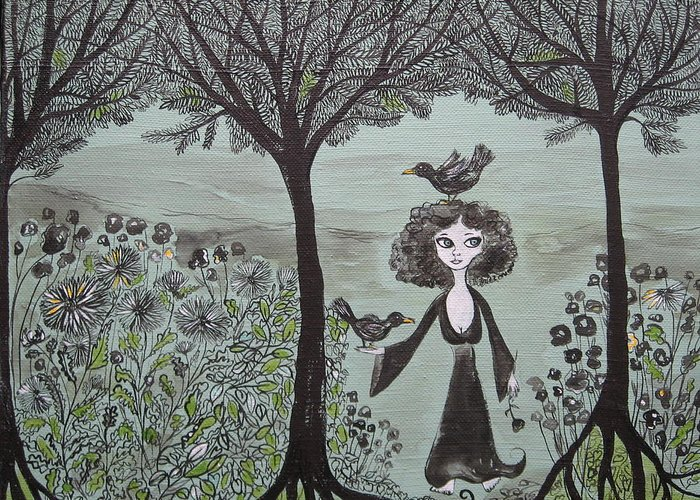 Woods Greeting Card featuring the painting Ninas Garden by Sue Wright