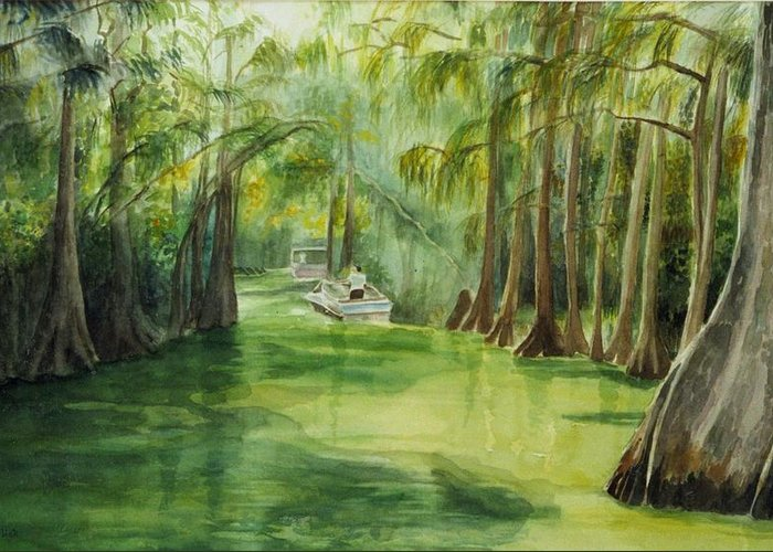 Passage Between Lakes Greeting Card featuring the painting Dora Passage by Judy Swerlick