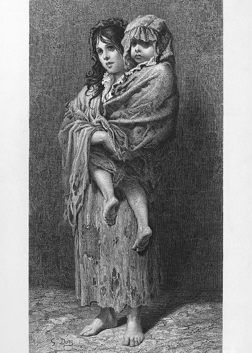 1869 Greeting Card featuring the photograph Dore: Homeless, C1869 by Granger