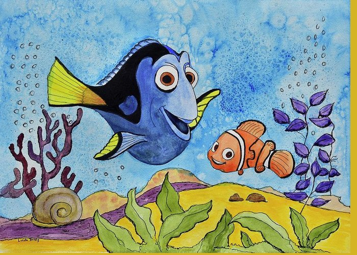 Linda Brody Greeting Card featuring the painting Dori And Nemo by Linda Brody