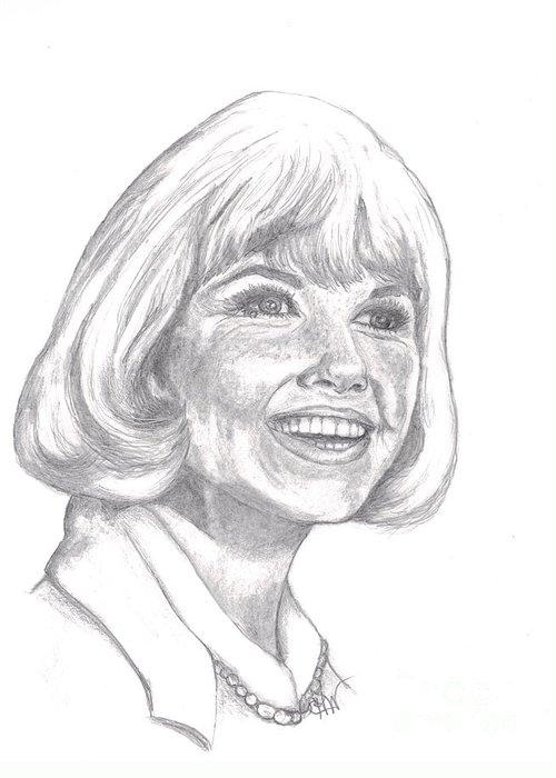 Celebrity Greeting Card featuring the drawing Doris Day by Carol Wisniewski