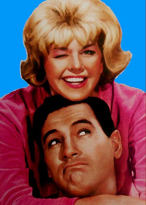 Pillow Talk Greeting Card featuring the mixed media Doris Day Rock Hudson by Paul Van Scott