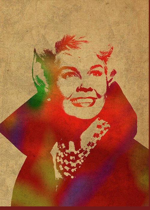 Doris Day Mixed Media Greeting Cards