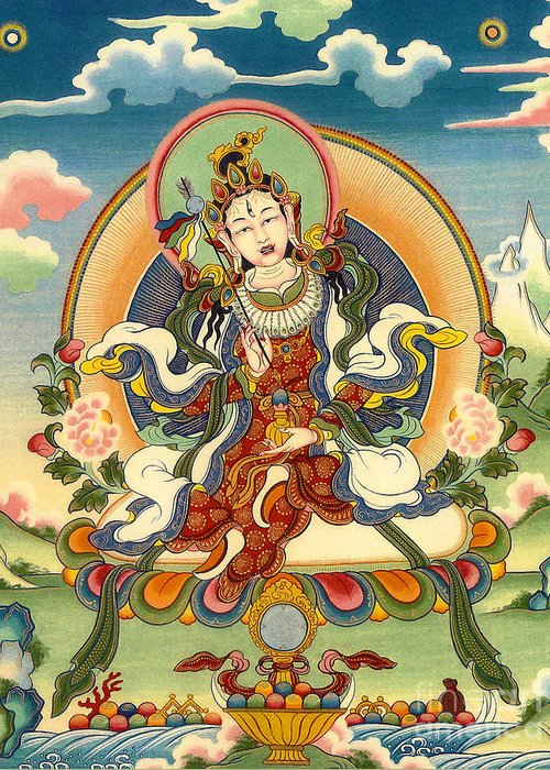 Thangka Greeting Card featuring the painting Dorje Yudronma by Sergey Noskov