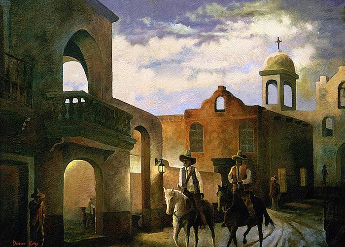 Texas New Mexico Cowboy Southwest 1800 Greeting Card featuring the painting Dos Amigos by Donn Kay