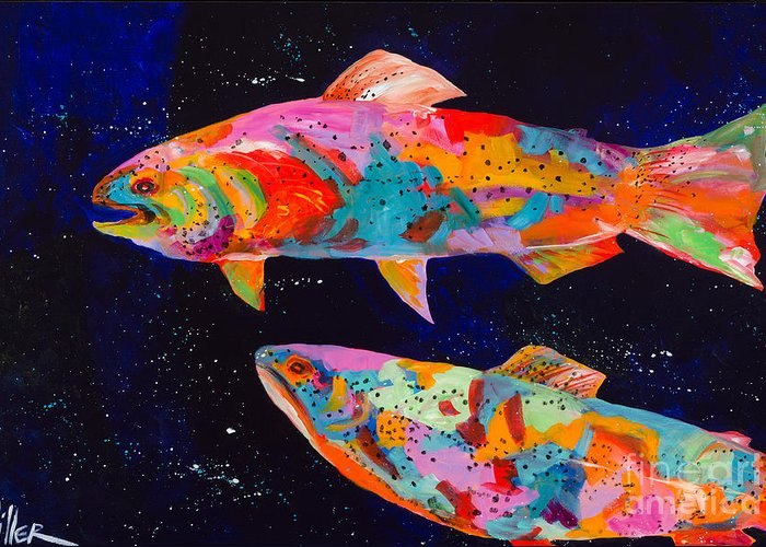 Tracy Miller Greeting Card featuring the painting Dos Brown Trout by Tracy Miller