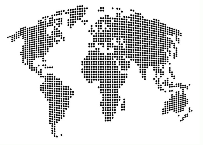 Map Greeting Card featuring the digital art Dot Map Of The World - Black And White by Michael Tompsett