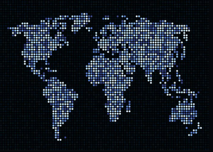 Map Greeting Card featuring the digital art Dot Map Of The World - Blue by Michael Tompsett
