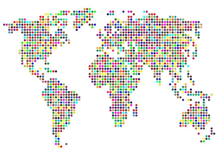 Map Greeting Card featuring the digital art Dot Map Of The World - Colour On White by Michael Tompsett